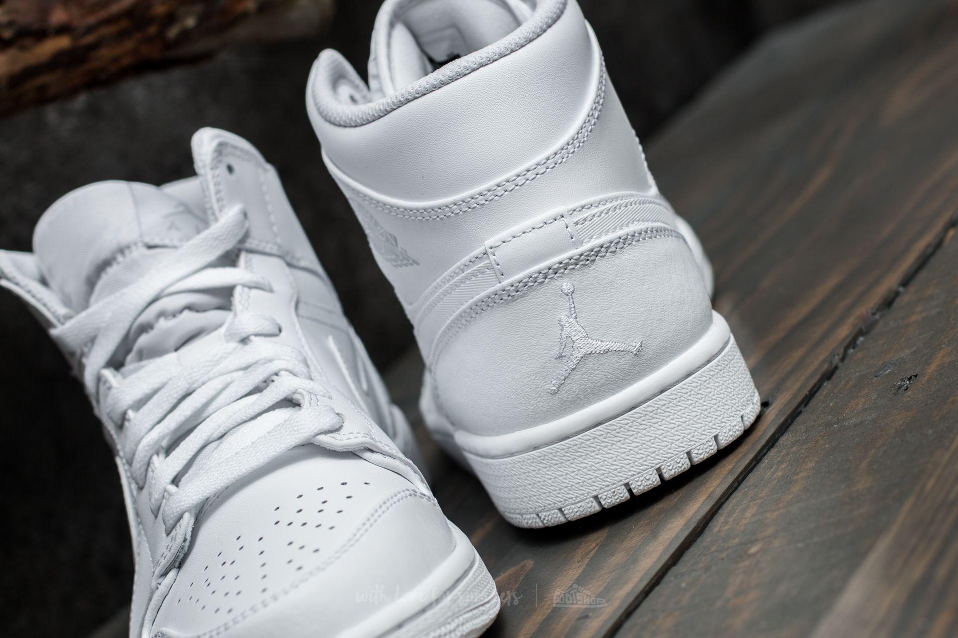Air Jordan 1 Mid White Pure Platinum White   Footshop